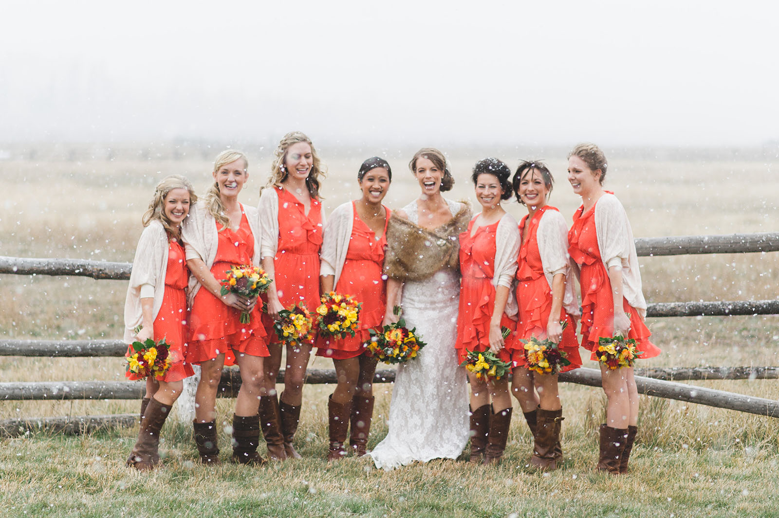 colorado bride and bridesmaids wedding photo