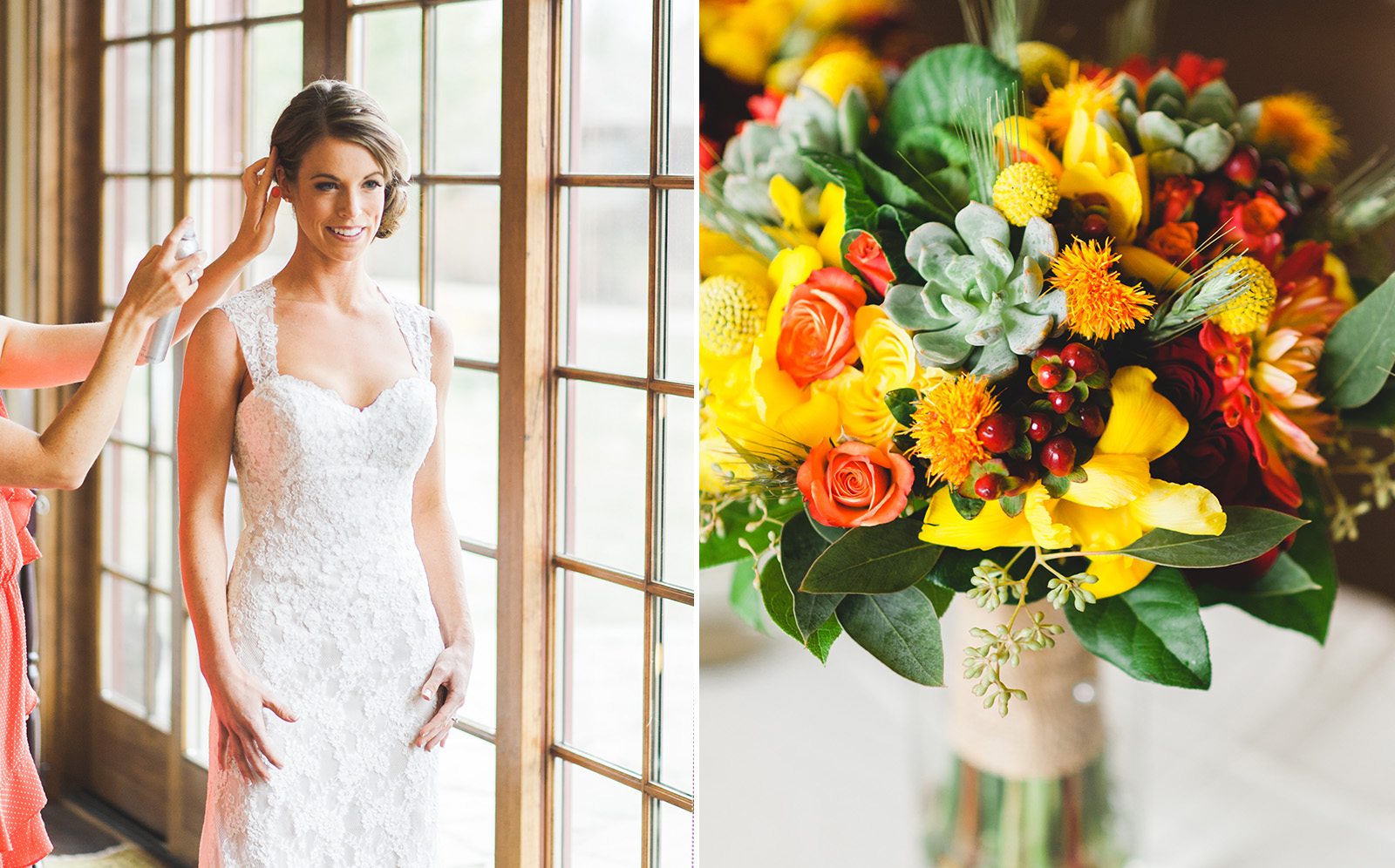 Colorado bride with flowers wedding
